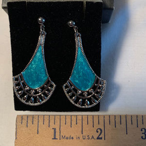 NEW Avon Vintage 1992 silver-turquoise earrings